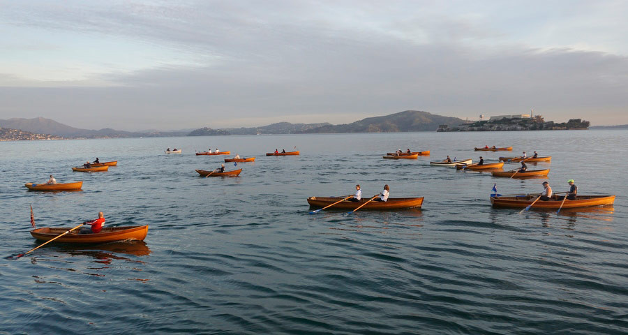 wooden rowboats on the Bay